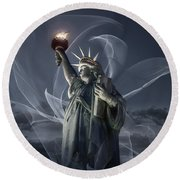 Light Of Liberty Round Beach Towel