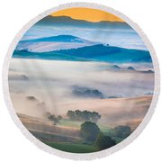 Val D'orcia Enchantment Round Beach Towel by Inge Johnsson