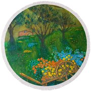 Val D'orcia Round Beach Towel by Pamela Allegretto
