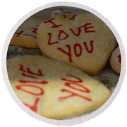 Valentine Wishes And Cookies Round Beach Towel