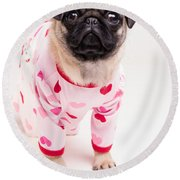 Valentine's Day - Adorable Pug Puppy In Pajamas Round Beach Towel