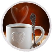 Valentine's Day Coffee Round Beach Towel