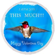 Valentines Day I Love You This Much Round Beach Towel