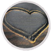 Valentine's Day - Sand Heart Round Beach Towel