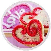 Valentines Hearts Round Beach Towel