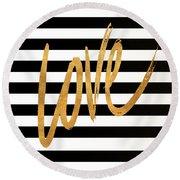 Valentines Stripes Iv Round Beach Towel