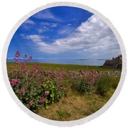 Valerian By A Stone Wall On The Northumberland Coast Round Beach Towel