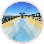 Valero Beach Fishing Pier Round Beach Towel