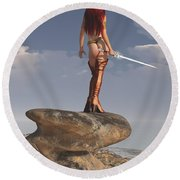 Valkyrie On The Shore Round Beach Towel
