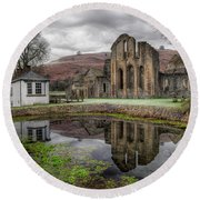 Valle Crucis Abbey Round Beach Towel