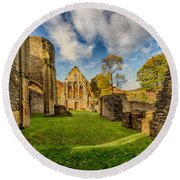Valle Crucis Abbey Ruins Round Beach Towel by Adrian Evans