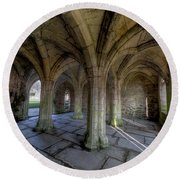 Valle Crucis Chapter House  Round Beach Towel