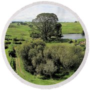 Valley At Hobbiton Nz Round Beach Towel
