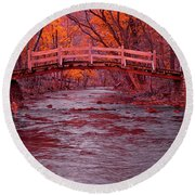 Valley Creek Bridge In Autumn Round Beach Towel