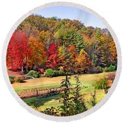 Valley Farm In The Fall Round Beach Towel