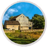 Valley Forge Barn Round Beach Towel
