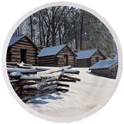 Valley Forge Cabins After A Snow Round Beach Towel