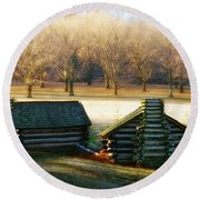 Valley Forge Cabins Round Beach Towel