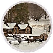 Valley Forge Cabins In Snow 2 Round Beach Towel