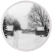 Valley Forge Cabins In Snow Round Beach Towel
