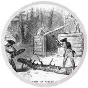 Valley Forge: Huts, 1777 Round Beach Towel