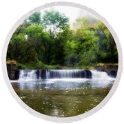 Valley Forge Pa - Valley Creek Waterfall  Round Beach Towel