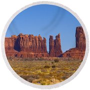 Valley Monuments  Round Beach Towel