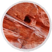 Valley Of Fire Mouse's Tank Sandstone Wall Round Beach Towel
