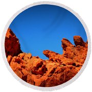 Valley Of Fire Nevada Desert Rock Lizards Round Beach Towel