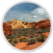 Valley Of Fire Round Beach Towel by Robert Bales