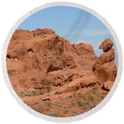 Valley Of Fire Rock Formations Round Beach Towel