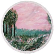 Valley Of Flowers Round Beach Towel