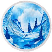 Valley Of The Castles Painting Round Beach Towel