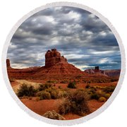 Valley Of The Gods Stormy Clouds Round Beach Towel