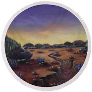Valley Of The Hedgehogs Round Beach Towel