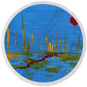 Valley Of The Red Moon Round Beach Towel