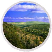 Valley Of Trees Round Beach Towel