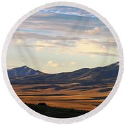 Valley Shadows Snowy Peaks Round Beach Towel