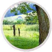 Valley View Along Flat Creek Rd Round Beach Towel