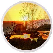 Valley View Horses Round Beach Towel