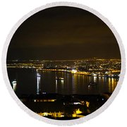 Valparaiso Harbor At Night Round Beach Towel