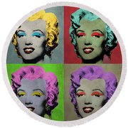 Vampire Marilyn Set Of 4 Round Beach Towel