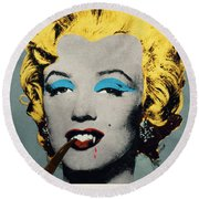 Vampire Marilyn With Surreal Pipe Round Beach Towel