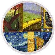 Van Gogh Collage Round Beach Towel