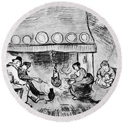 Fireplace, 1889 Round Beach Towel