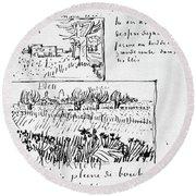 Van Gogh Letter, 1888 Round Beach Towel