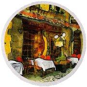 Van Gogh Style Restaurant Round Beach Towel