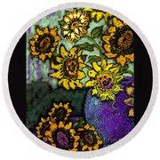 Van Gogh Sunflowers Cover Round Beach Towel
