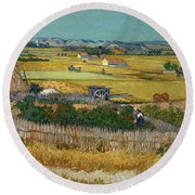 Van Gogh Wheatfield 1888 Round Beach Towel