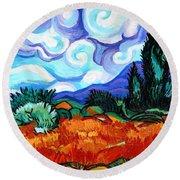 Van Goghs Wheat Field With Cypress Round Beach Towel